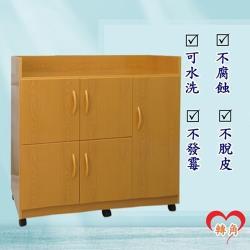 轉角傢俱-塑鋼碗盤櫃 防潮防水防發霉 (寬95深41高88)四色可選 附輪子