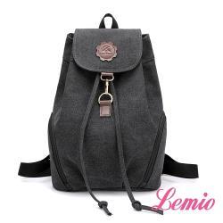 【Lemio】韓版學院范後背包(性格黑)