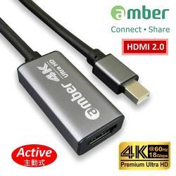 amber 鋁合金mini DisplayPort/mini DP轉HDMI 2.0 Premium 4K @60Hz主動式轉接器Active
