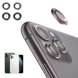 NISDA for iPhone 11 Pro 5.8吋 航太鋁鏡頭保護套環 9H鏡頭玻璃膜-一組含鏡頭環3個-銀