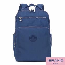 iBrand後背包 輕盈防潑水素色雙拉鍊尼龍後背包(大)-藍色 8612L-BL