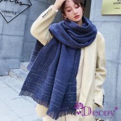 【Decoy】點點純色*流蘇加大保暖披肩圍巾/深藍