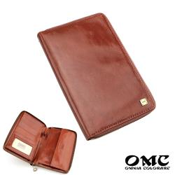 【OMC】歐洲Fronts原皮單拉鍊收納護照包(咖啡)