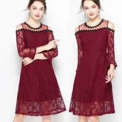 麗質達人 - 28034紅色蕾絲露肩洋裝
