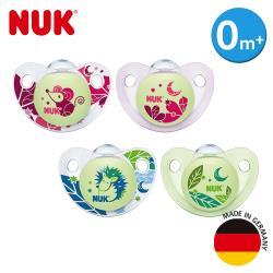 德國NUK-夜光矽膠安撫奶嘴-初生型0m+2入(顏色隨機出貨)