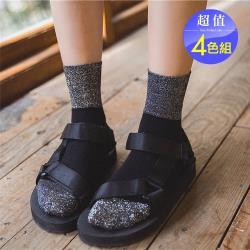 Acorn*橡果-日系銀絲質感拚色襪中筒襪短襪2616(超值4色組)