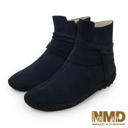 【Normady 諾曼地】個性流蘇專利足弓支撐磁石內增高真皮球囊短靴-MIT手工鞋(沉穩藍)