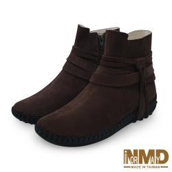 【Normady 諾曼地】個性流蘇專利足弓支撐磁石內增高真皮球囊短靴-MIT手工鞋(焦糖棕)