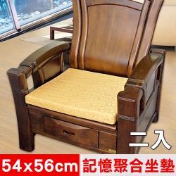 凱蕾絲帝 高支撐記憶聚合緹花坐墊.沙發墊.實木椅墊54x56cm富貴金(二入)