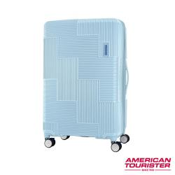 AT美國旅行者 30吋Velton 跳色幾何防盜拉鍊可擴充剎車輪行李箱(粉藍)-GL7*71011
