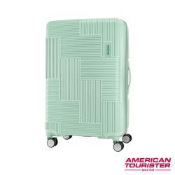 AT美國旅行者 30吋Velton 跳色幾何防盜拉鍊可擴充剎車輪行李箱(粉綠)-GL7*54011