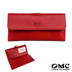 【OMC】17卡1照義大利Fronts舌扣長夾(紅色)