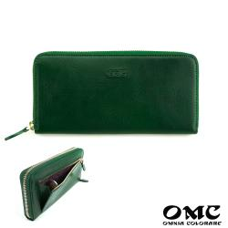 【OMC】12卡1照義大利Fronts單拉鍊長夾(綠色)