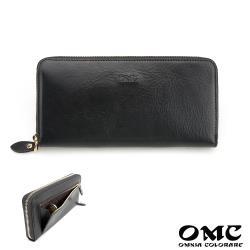 【OMC】12卡1照義大利Fronts單拉鍊長夾(黑色)