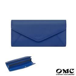 【OMC】16卡位原皮信封式長夾-藍色