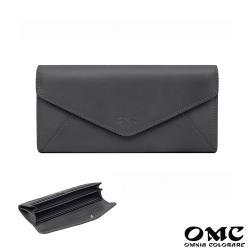 【OMC】16卡位原皮信封式長夾-灰色