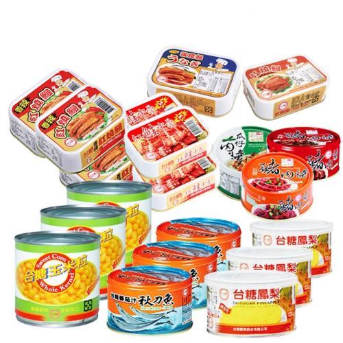 台糖 超值海陸罐頭10件組(豬肉醬3組/鰻魚3組/鳳梨罐/玉米粒/紅鮭中骨/茄汁秋刀魚)