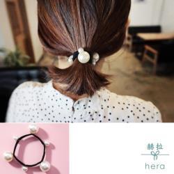 Hera 赫拉 手工釘大小珍珠髮圈-2入組