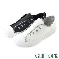 GREEN PHOENIX 國際精品時髦釘珠彈性鬆緊帶義大利山羊皮平底休閒鞋U28-2F102