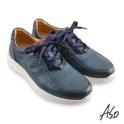 A.S.O 機能休閒 超能耐II代運動風綁帶休閒鞋-藍