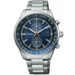 【CITIZEN 星辰】光動能紳士雙眼計時手錶-41mm/藍(CA7030-97L)