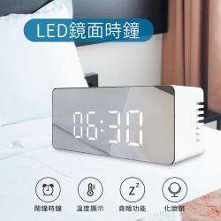 LED鏡面時鐘-鬧鐘 化妝鏡 溫度日期顯示多功能合一