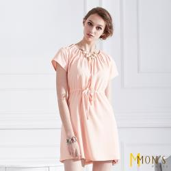 Mons法國優雅名媛風造型縐摺洋裝