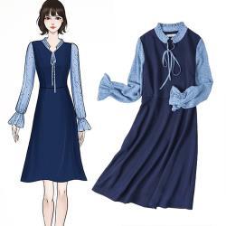 麗質達人 - 11031藍色假二件洋裝