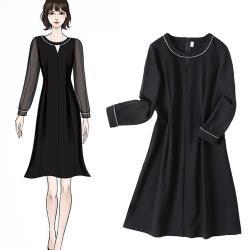 麗質達人 - 11103黑色雪紡袖洋裝
