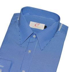 Chinjunshton細纖維抗皺商務襯衫、長袖,籃底白線條,編號T008-16