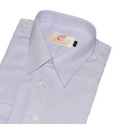 Chinjunshton細纖維抗皺商務襯衫、長袖,白底紫線條,編號FSQ-4