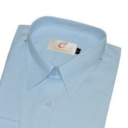 Chinjunshton細纖維抗皺商務襯衫、長袖,藍底籃斜紋,編號8089