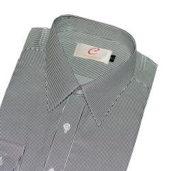 Chinjunshton細纖維抗皺商務襯衫、長袖,灰細條紋,編號532-4