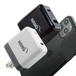 HANG Type-C/USB-A雙孔 PD+QC4.0/3.0快速閃充充電器旅充頭-白/黑(C12a)