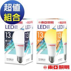 東亞照明 13W球型LED燈泡(白光1365Im/黃光1300Im)任選15入