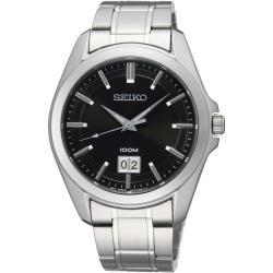 SEIKO 大日期視窗百米腕錶-黑x銀 6N76-00A0D