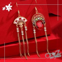 【伊飾童話】京劇臉譜*民族風925銀針流蘇耳環