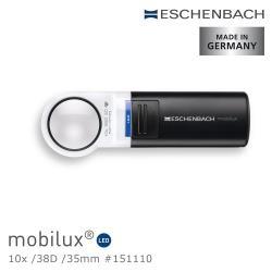 【德國 Eschenbach宜視寶】mobilux LED 10x/38D/35mm 德國製LED手持型非球面高倍單眼放大鏡 151110 (公司貨)