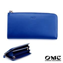 【OMC】18卡2照原皮單拉鍊L型手拿長夾-藍色