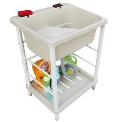 新式大容量單槽塑鋼水槽 洗衣槽 洗手台(附洗衣板) 1入