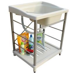 新式大型塑鋼洗衣槽 水槽 洗手台 不鏽鋼腳架 1入