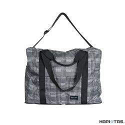 Traveler Station-HAPI+TAS 摺疊旅行袋(3WAY)-306黑灰色蘇格蘭格紋