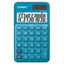 【CASIO】 10位元馬卡龍輕巧口袋型計算機(SL-310UC-BU)-俏藍莓