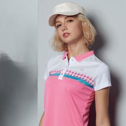 Abel Foxs Sports粉格紋熱昇華短袖polo衫-F5204A-28