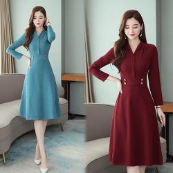 韓國K.W.(預購)都會女神風彩純色素面修身洋裝