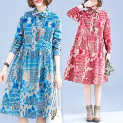 韓國K.W.(預購)民族風花色拼布休閒洋裝