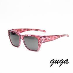 【GUGA】粗框透明紫色豹紋框灰片時尚偏光掛套式太陽眼鏡墨鏡(J1314-L6)