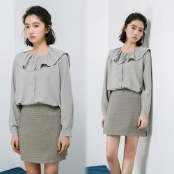 韓國K.W.(預購)典藏英倫學院優雅千鳥格短裙