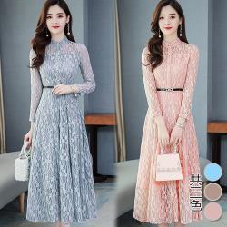 韓國K.W.(預購)垂墜鏤空蕾絲長洋裝
