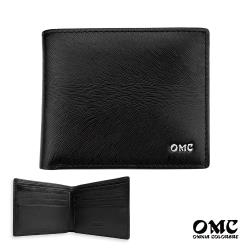 【OMC】8卡馬毛紋簡約拉鍊袋牛皮短夾(黑色)